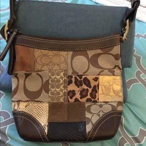 Coach Patchwork Brown Leather Brown Shoulder Purse